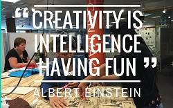 quote Creativity is Intelligence having fun by Albert Einstein. quote