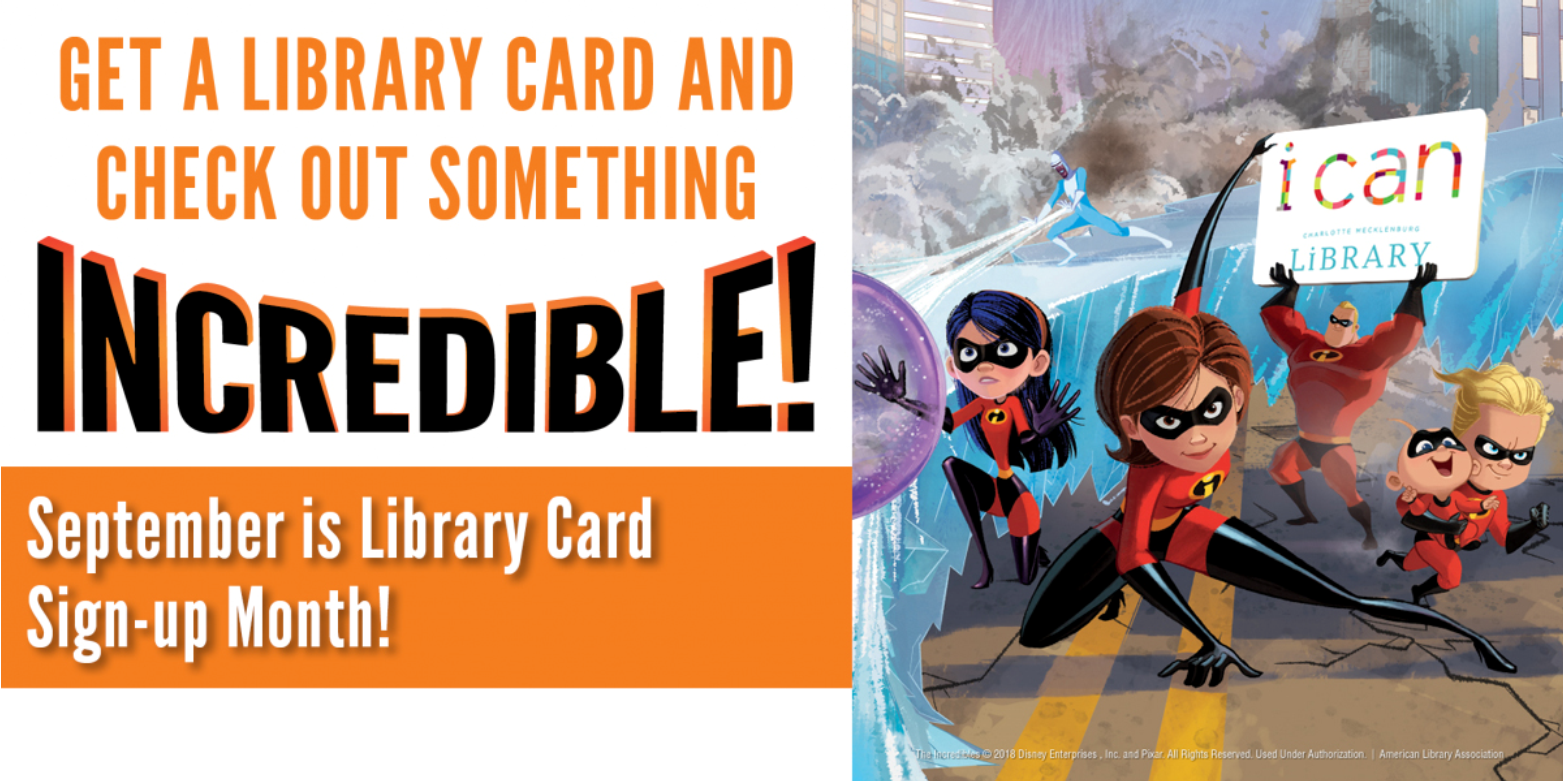 It's library card sign-up month. Get Carded at Charlotte Mecklenburg Library and discover all the free resources, music, programs, WiFi and books you want.