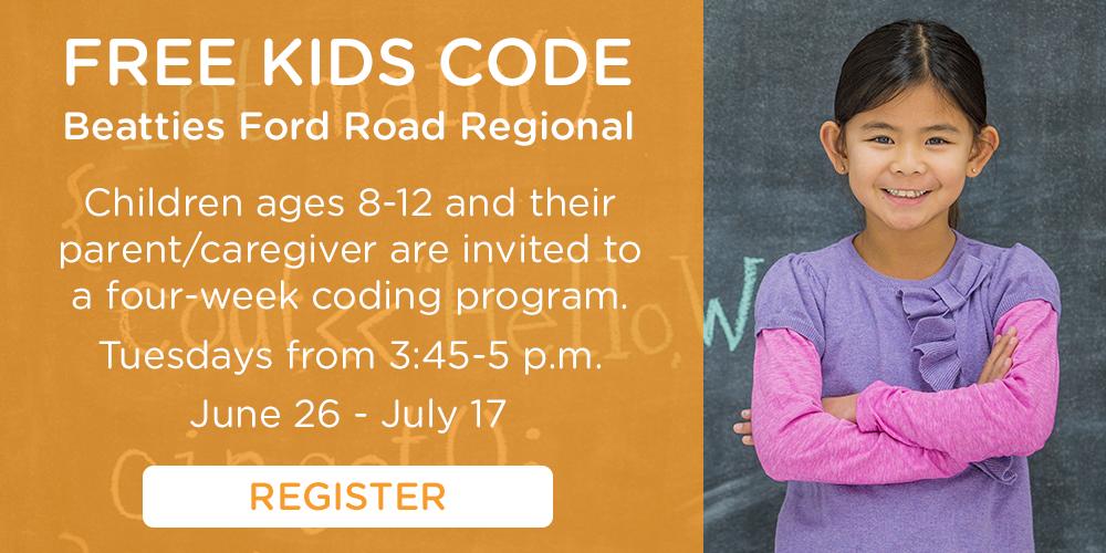 Free Kids Code program at Beatties Ford Road Regional June 26-July 17.