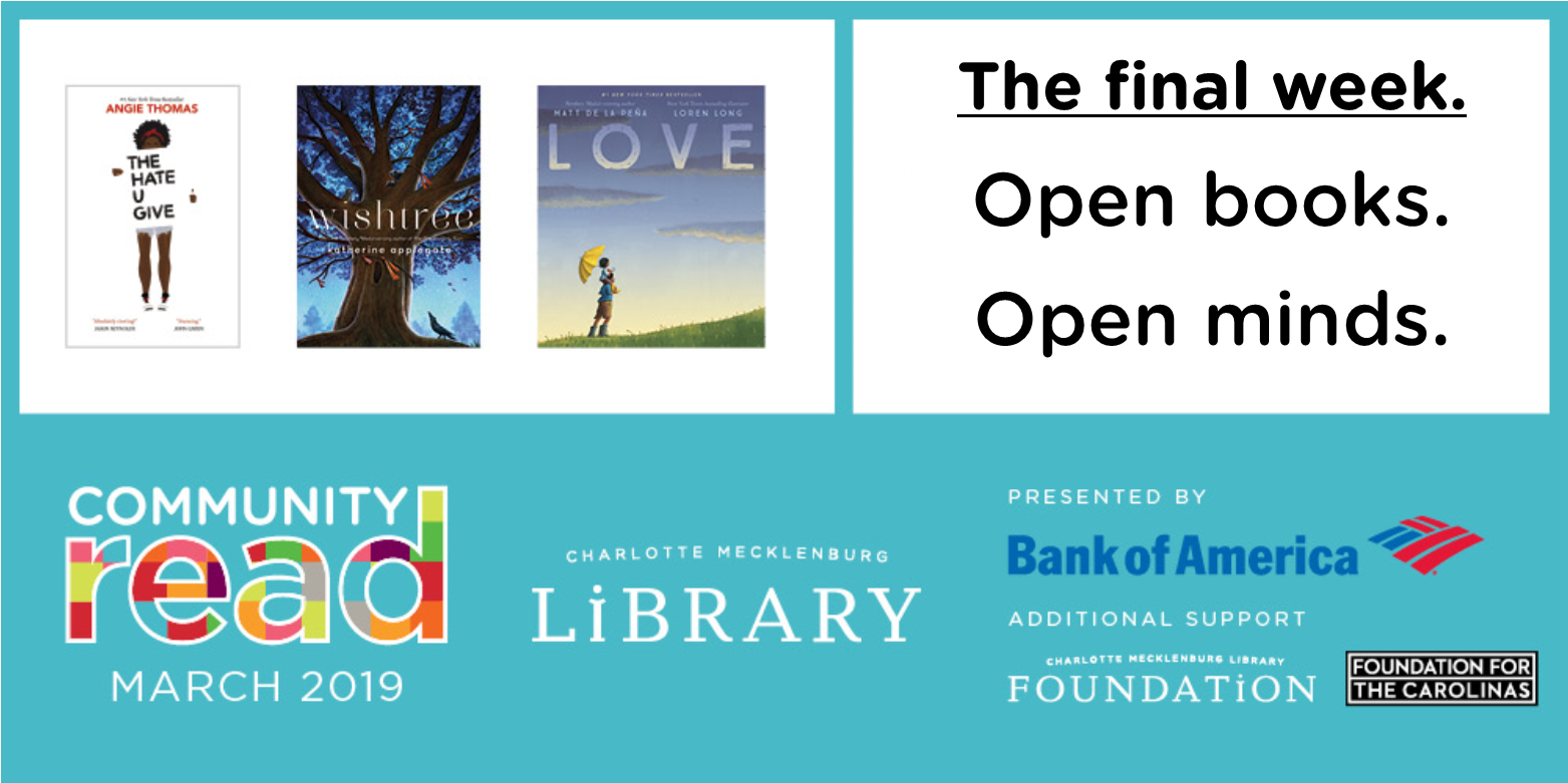 It's the final week of Community Read 2019! Don't miss out on the events and programs.
