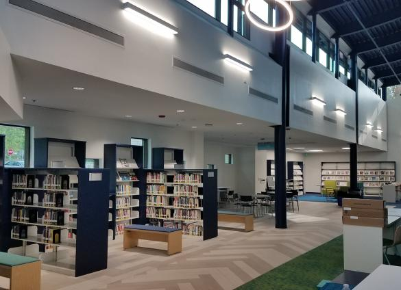 A lobby photo from Charlotte Mecklenburg Library's newly renovated North County Regional Library