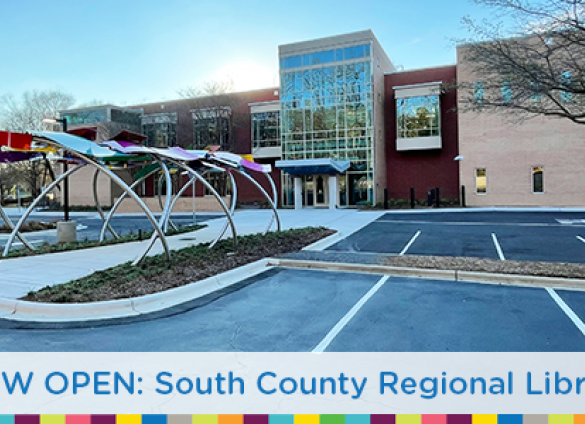 """A view of the """"Open Book, Open Minds"""" public art and entrance at Charlotte Mecklenburg Library's  South County Regional Library branch."""