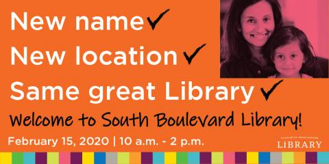 The Charlotte Mecklenburg Library's South Boulevard Library branch will celebrate its grand opening on February 15, 2020.