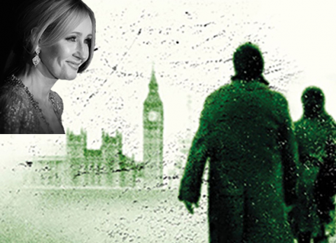 """Writer J. K. Rowling is pictured with a book cover design of """"Lethal White"""""""
