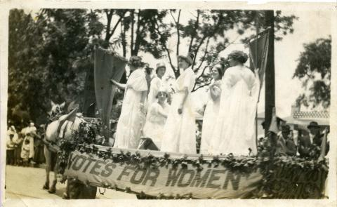 Photo courtesy of Charlotte Mecklenburg Library's Robinson-Spangler Carolina Room. Photo of a Women's Suffrage parade float that appeared in a November 1914 issue of the Charlotte Observer.